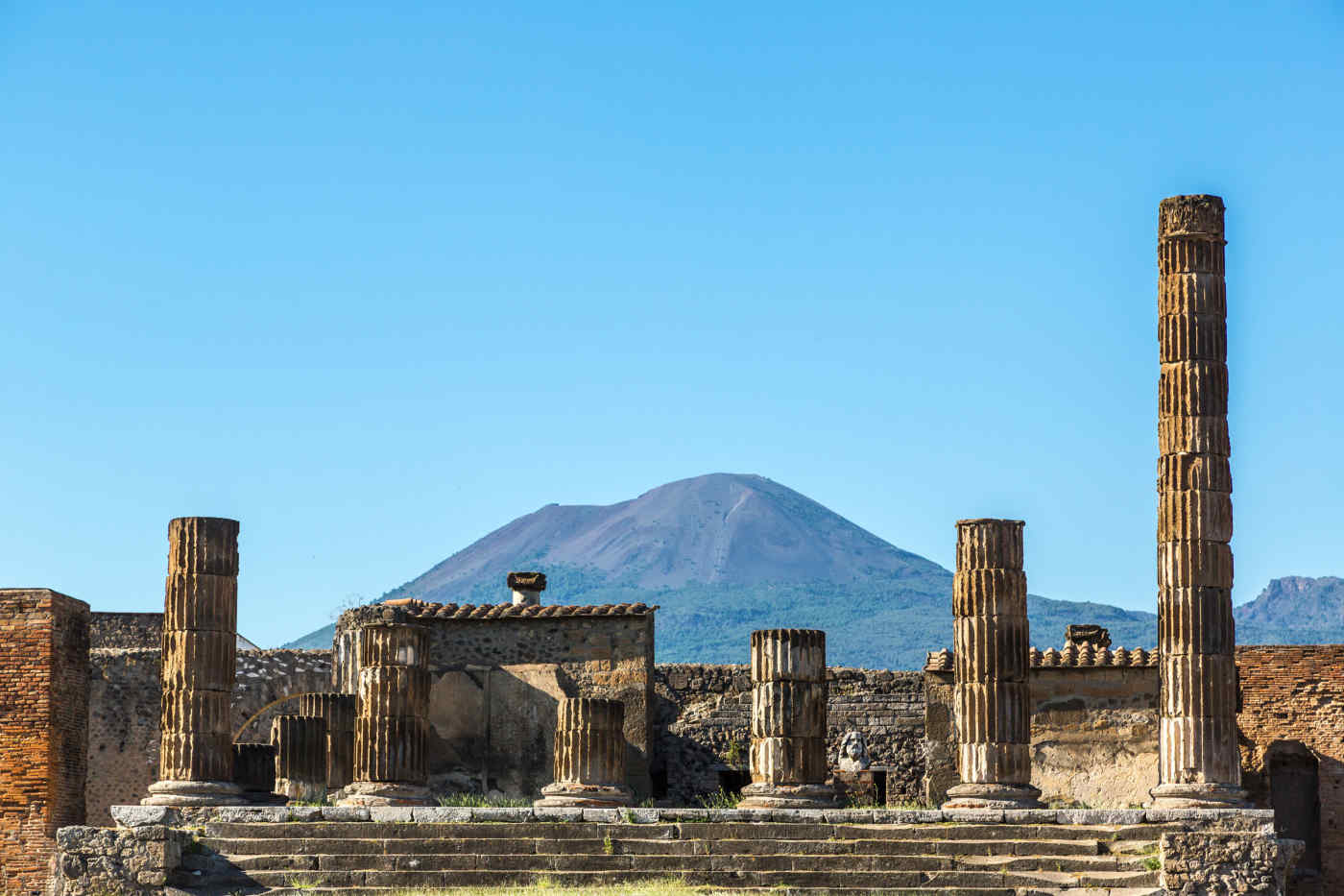 Mt. Vesuvius and the ruins of Pompeii