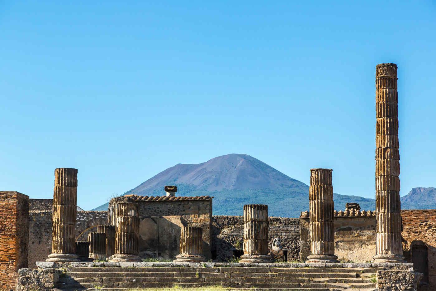 Mt. Vesuvius and the ruins of Pompeii