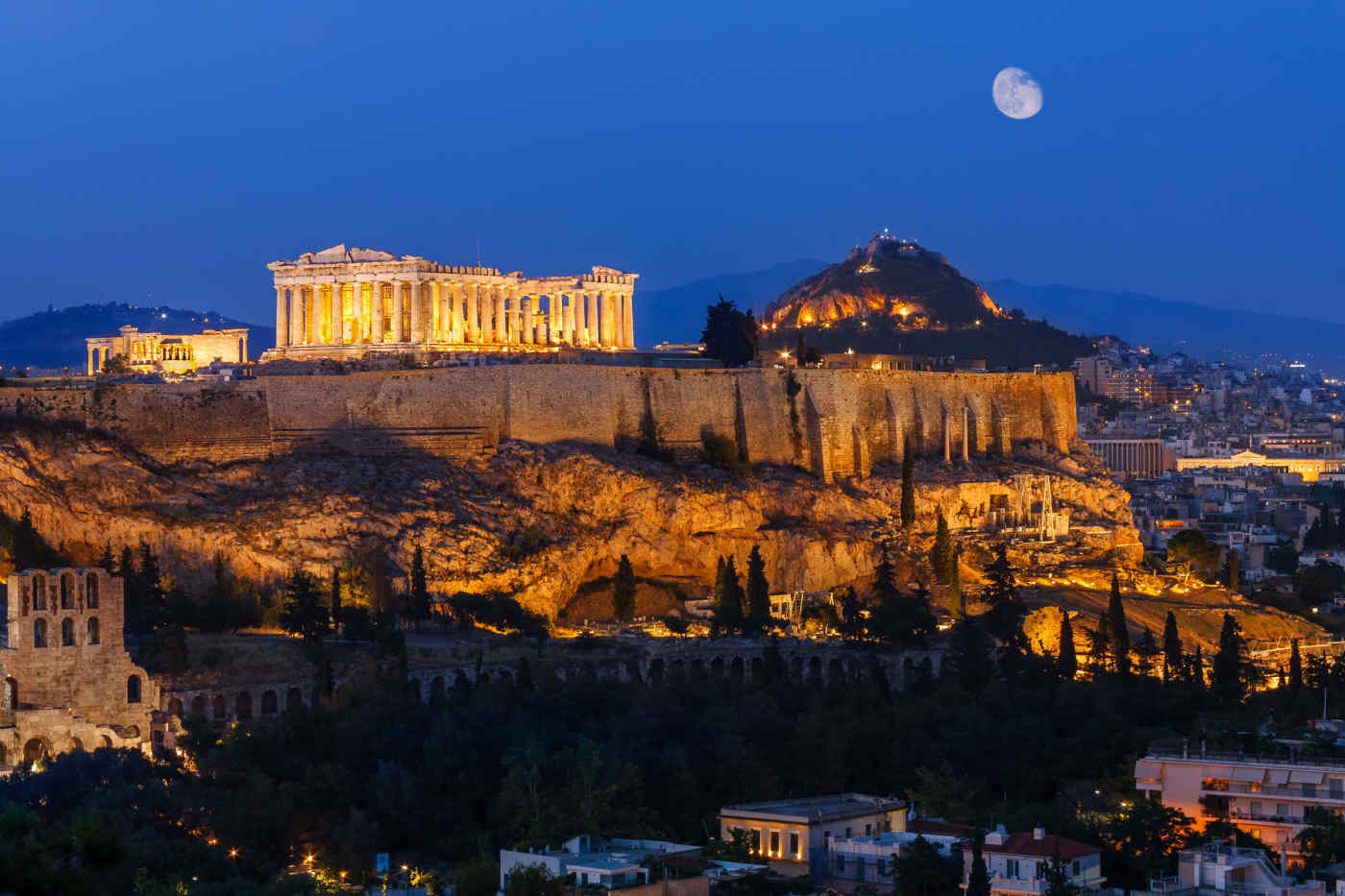 Parthenon at night in Athens, Greece