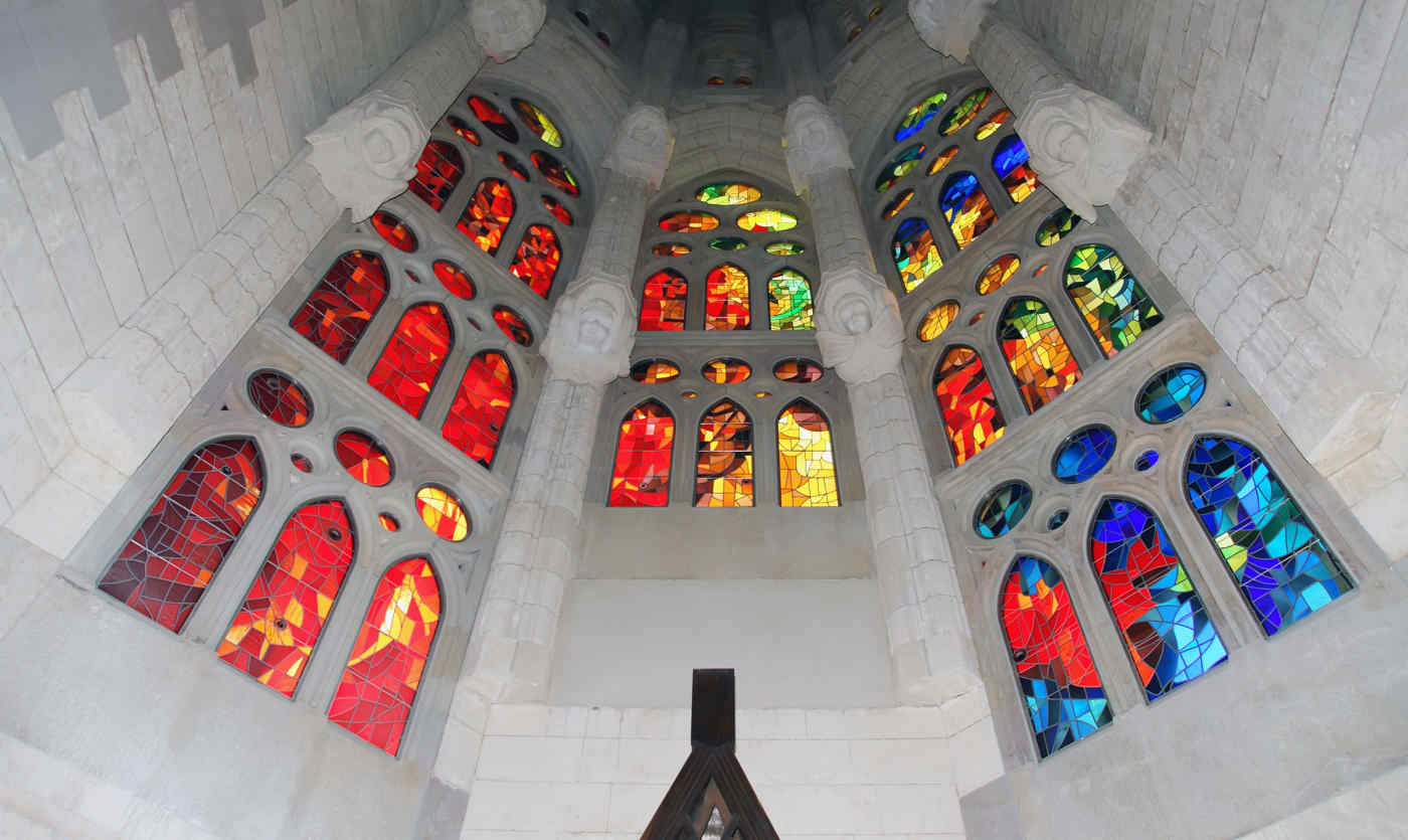 Stained glass inside the Sagrada Familia in Barcelona, Spain