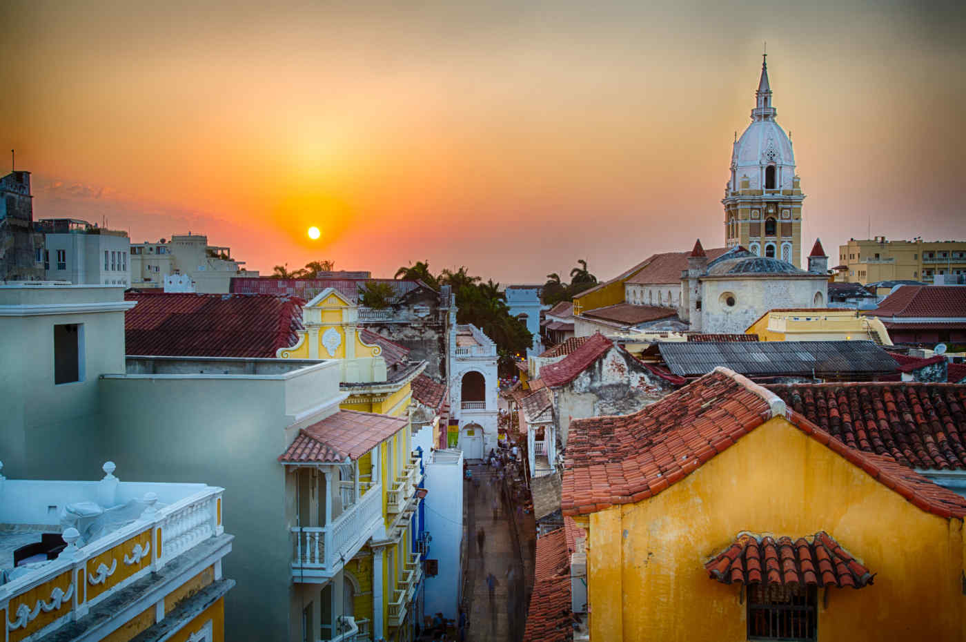 Sunset over Cartagena in Colombia