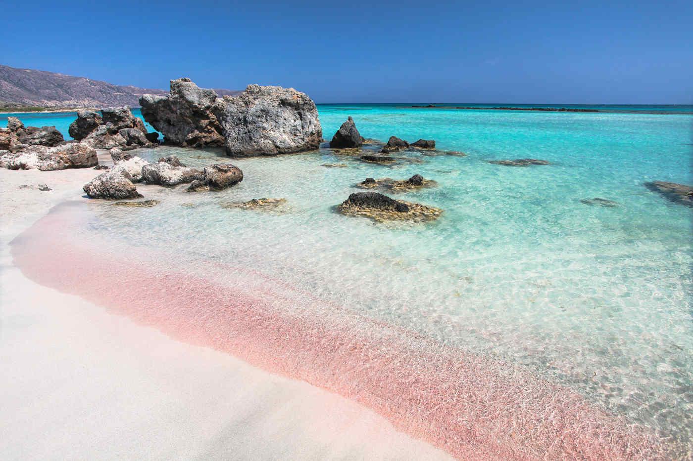 Pink sand beach in Crete