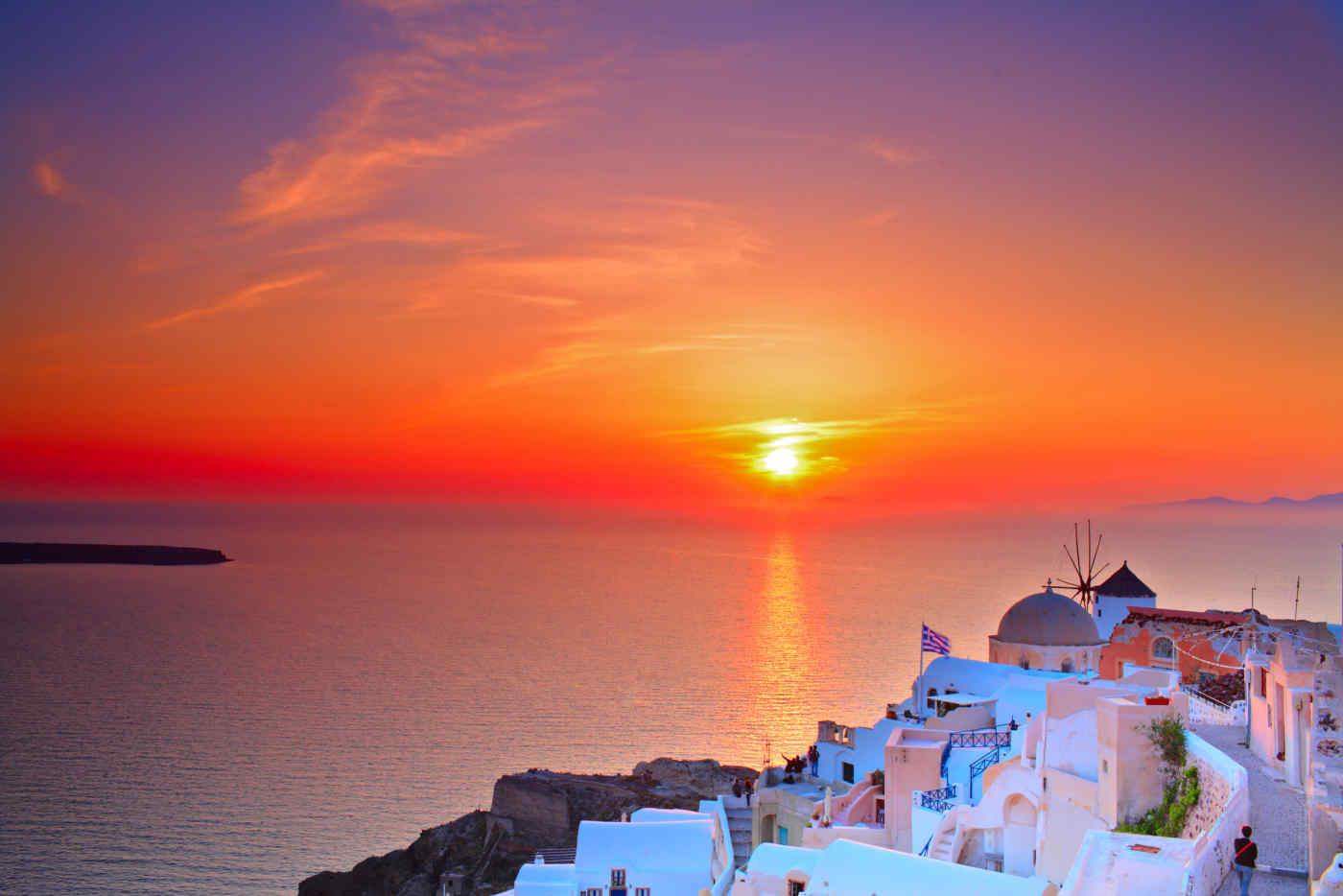 Town of Oia in Santorini, Greece