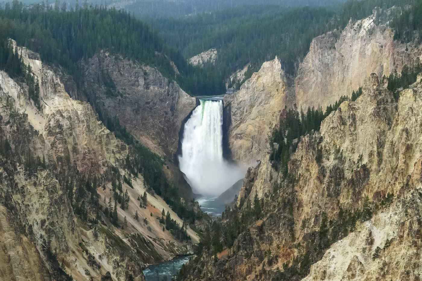 Lower Falls of Yellowstone River in Wyoming