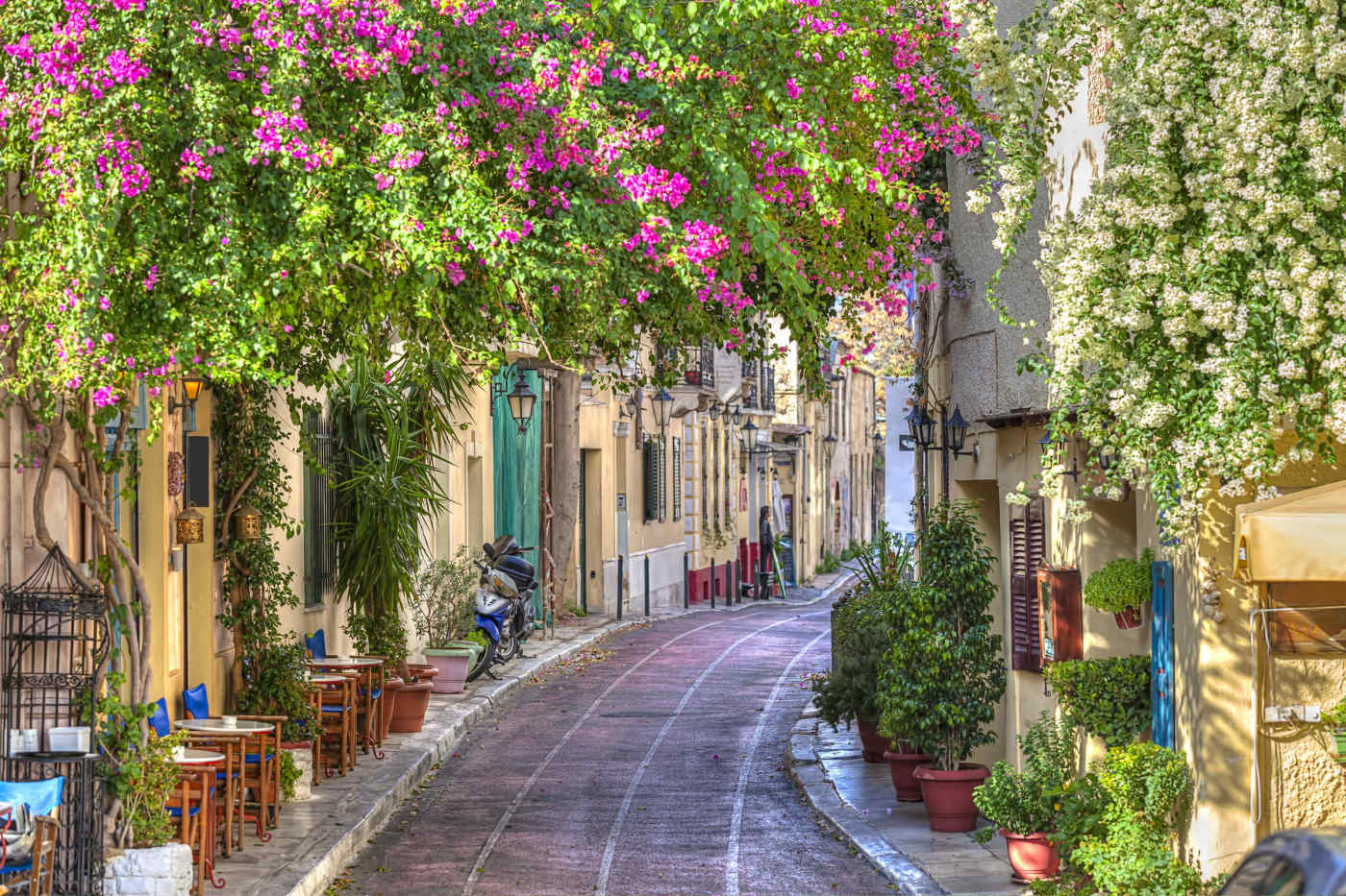 Charming street in Athens, Greece
