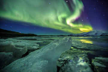 Aurora over the Glacial Lagoon