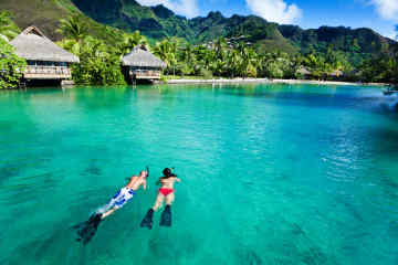 Snorkelers in French Polynesia