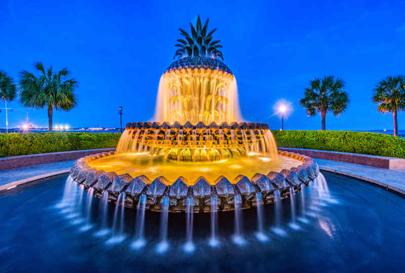 Pineapple Fountain in Downtown Charleston