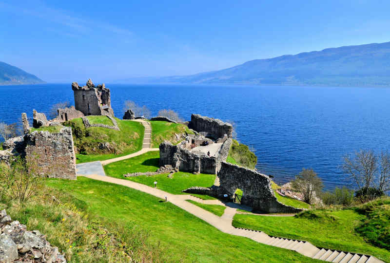 Ruins of Urquhart Castle on the banks of Loch Ness in Scotland