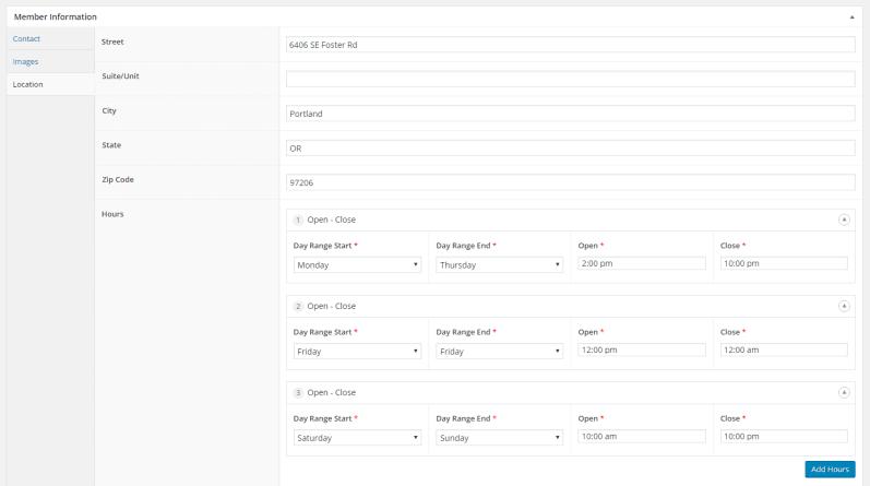 Member location metadata, backend