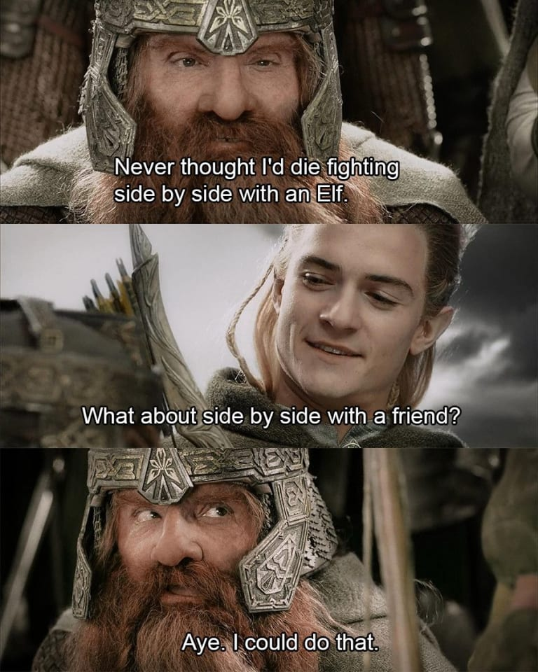 Legolas and Gimli from Lord of the Rings share a tender, memeable moment before battle