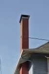 A residential brick chimney