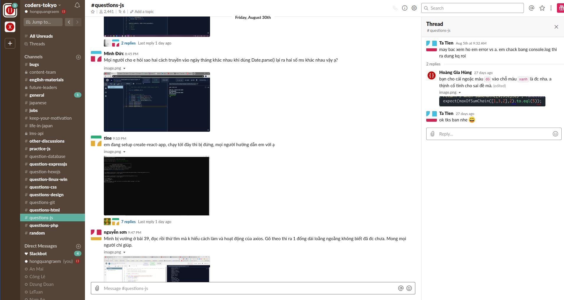 Các channels trên coders-tokyo slack