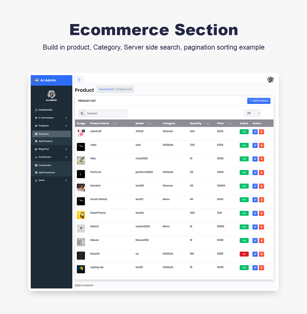 AJ Admin - React Redux Saga E-Commerce