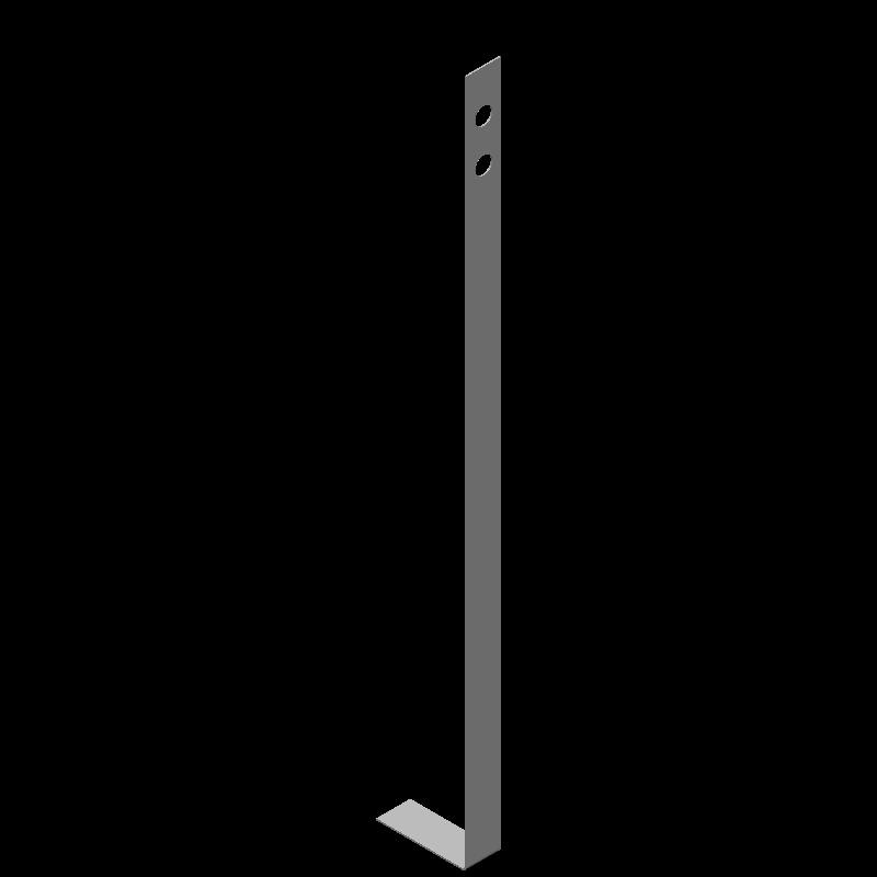 不等辺L字ロングブラケット(同径,2穴)