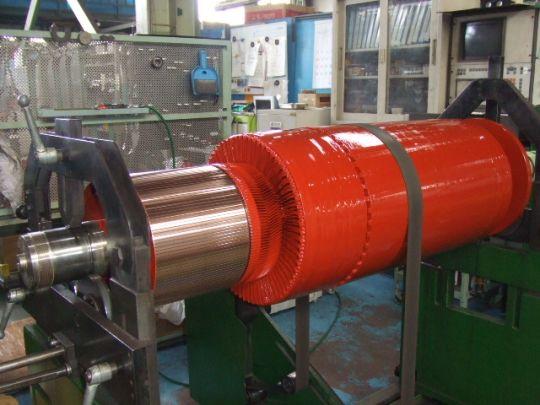 モーター回転子のバランス測定、調整