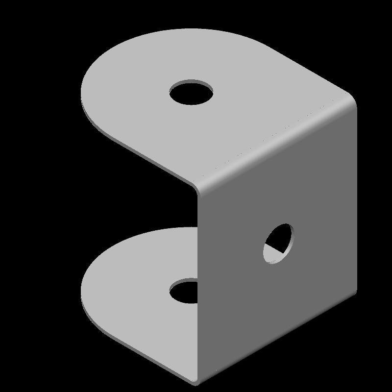 端面丸形コの字金具(同径,3穴)