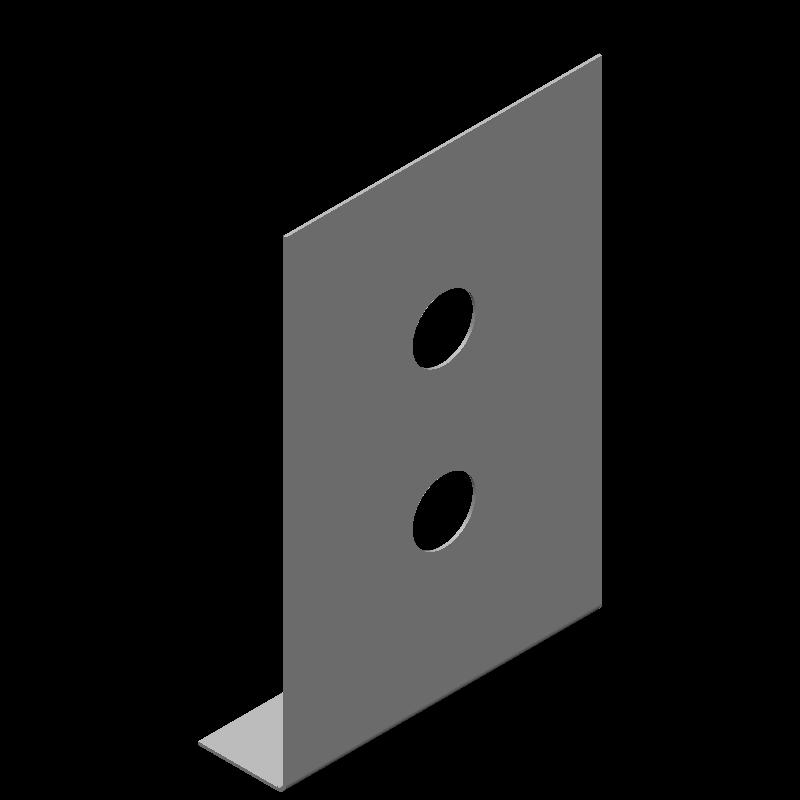 不等辺L字ブラケット(同径,2穴)