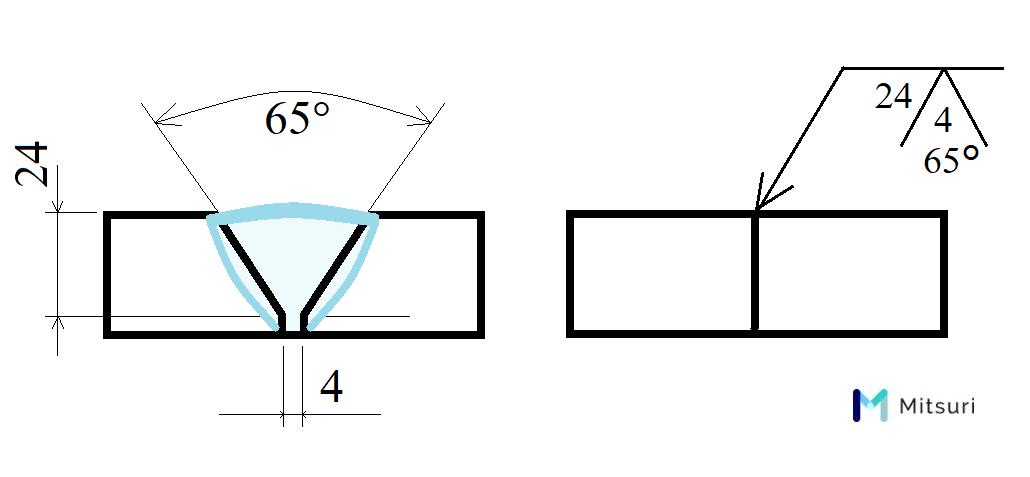 突合せ溶接の断面図