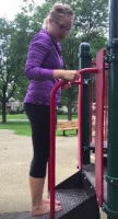 Dr. Lauren Doyle standing on a playground step