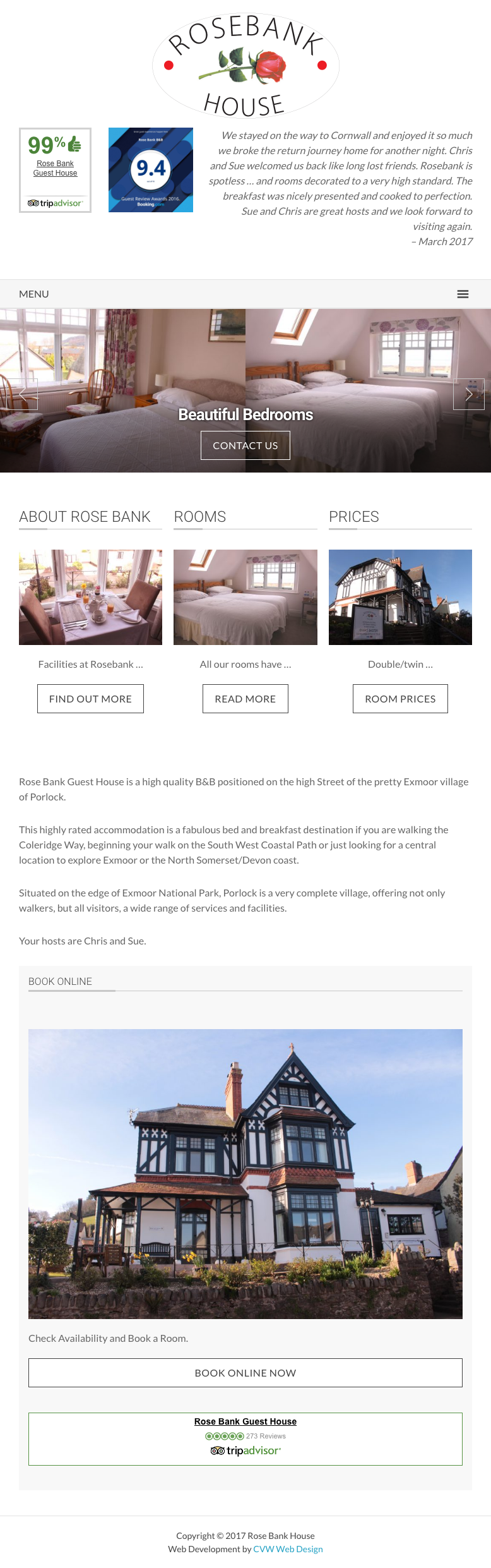 Rosebank House website screenshot