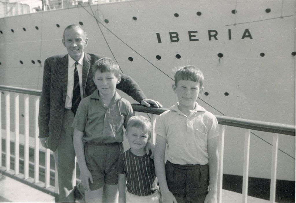 Dad, me, John and Alan (Mum was taking the photo) in front of S.S Iberia