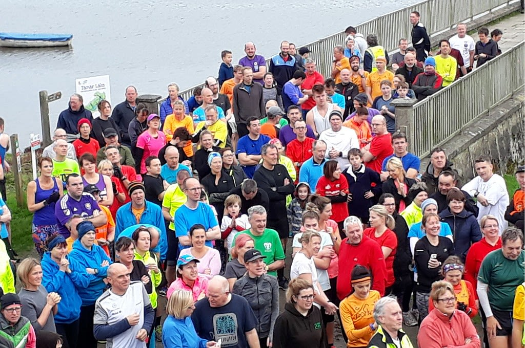 Runners waiting for the start (of a parkrun)