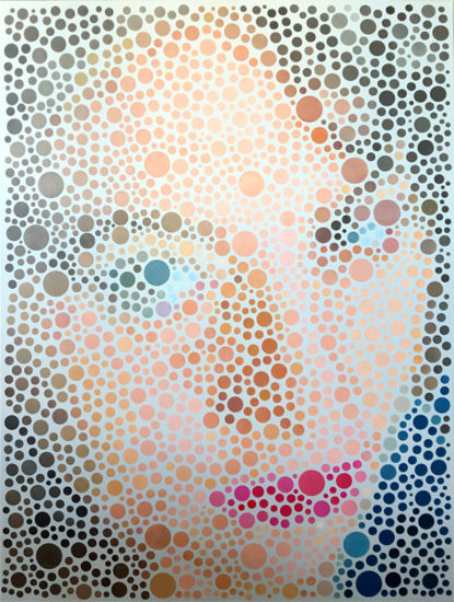 Vivi with Bubbles Op Art by Justin Blayney