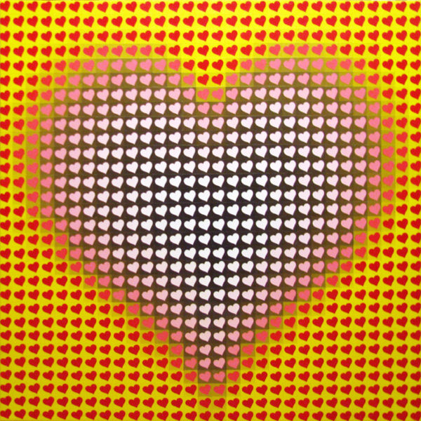 hearts, op art painting by Justin Blayney