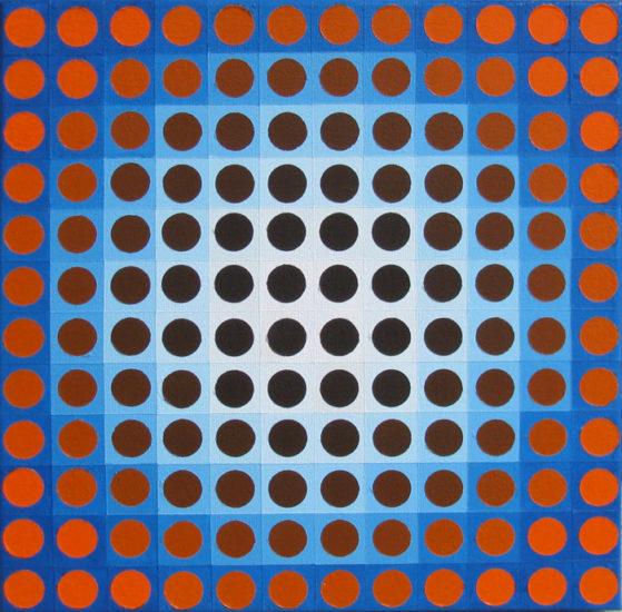 orange on blue chrome, op art painting by Justin Blayney