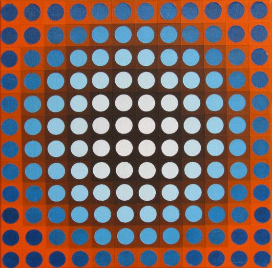 blue on orange chrome, op art painting by Justin Blayney