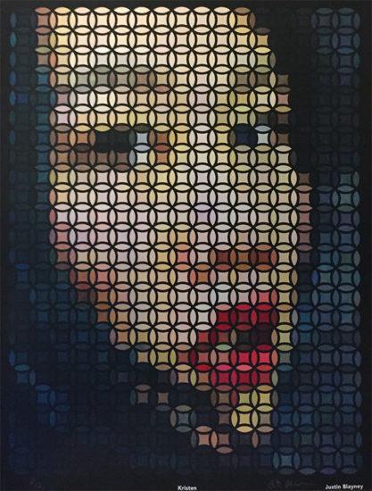 kristen, op art painting by Justin Blayney