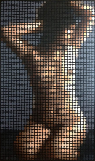 Nude Study with Pixels, op art painting by Justin Blayney