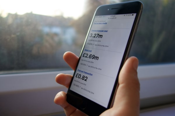 Photo of a service dashboard being used on a smartphone.