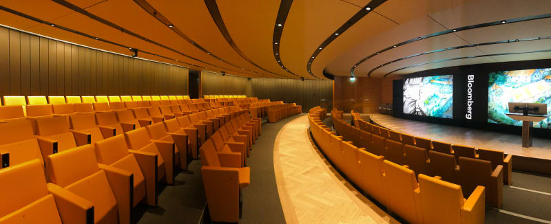 A wide panorama of an auditorium room.