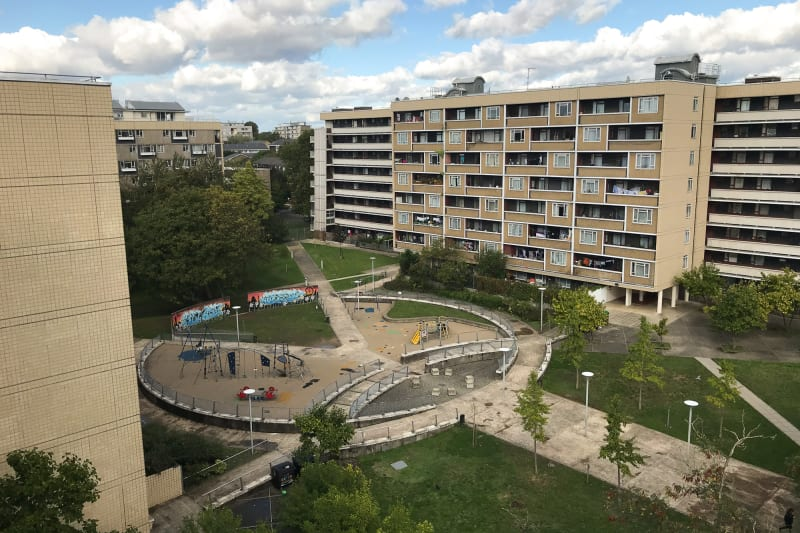 Looking down on the central courtyard of Priory Green estate.