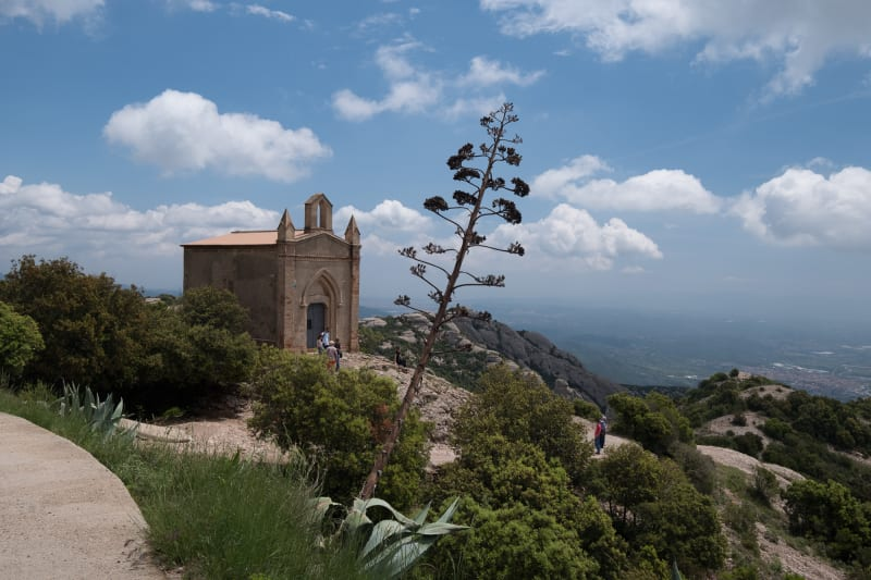 A view of Ermita de Sant Joan on the Montserrat hills.