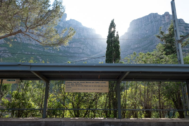 The view from the Montserrat train station, looking up at the hills overhead.