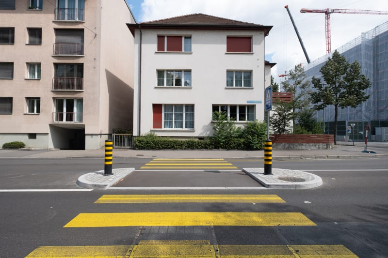 A photo of a zebra crossing in Basel.