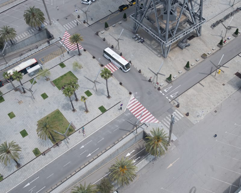 A photo of several streets and pavements taken from above. It looks closer to a model than a real street scene.