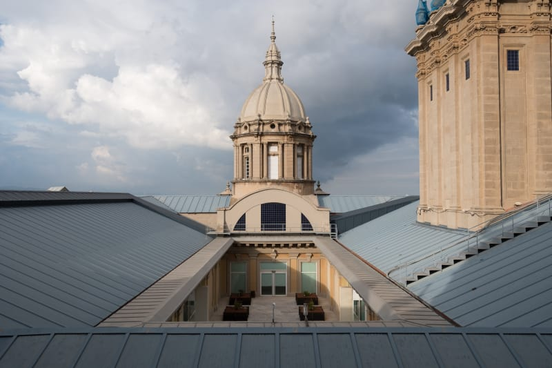 A photo of the roof of the Museu Nacional d'Art de Catalunya