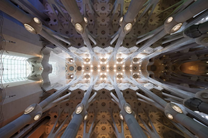 A photo looking directly up at the large hall of la Sagrada Família. There are 8 main support columns that radiate outwards.
