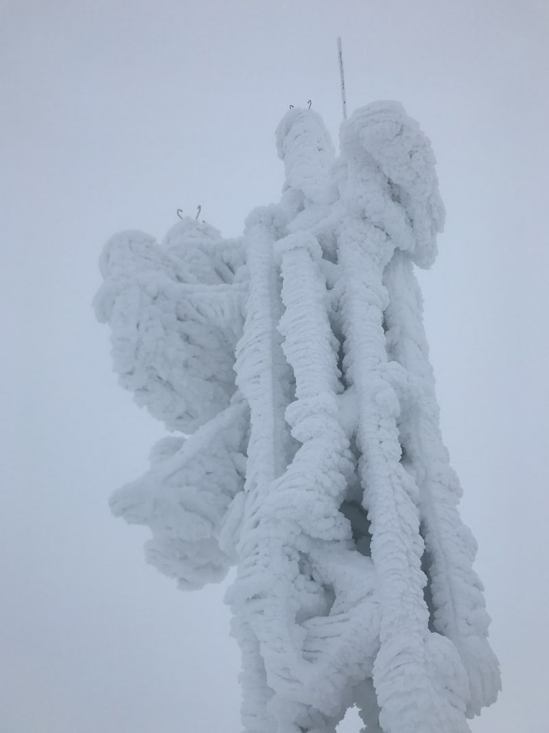 The weather station antenna at the top of Cairngorm mountain. It's completely iced over.