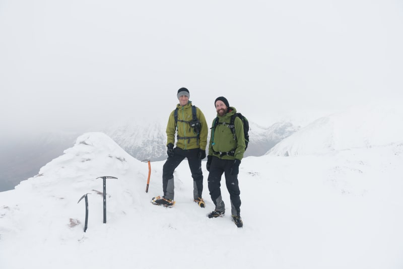 A portrait of Chris and Ed near the summit of Stob Bàn.