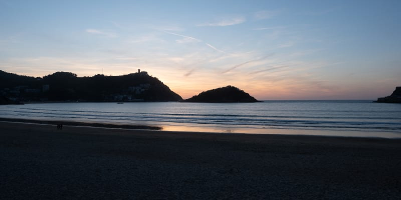 Just after sunset looking over the bay in San Sebastián.