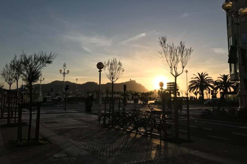 A sunset over the bay in San Sebastián. There's trees and signs in the foreground causing many silhouettes to break the sunset.