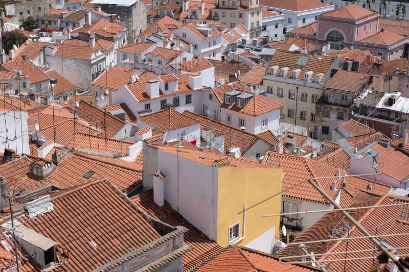 Looking down on the red tile roofs of the Alfama neighbourhood