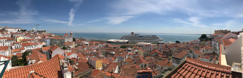 A panorama of the neighbourhood of Alfama from a viewpoint. There's a large cruise ship in the see directly in front.