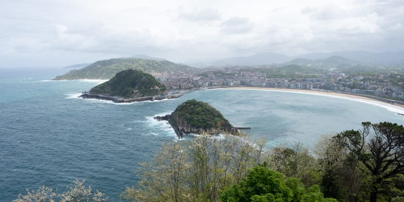 Looking down on the beaches of San Sebastián from above.
