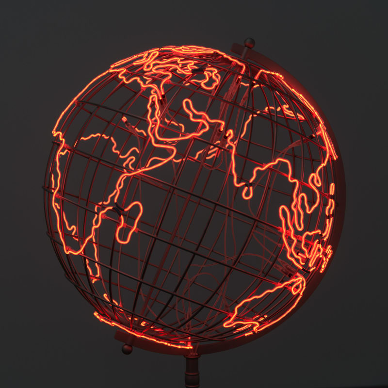 A model globe made from red neon tubes.